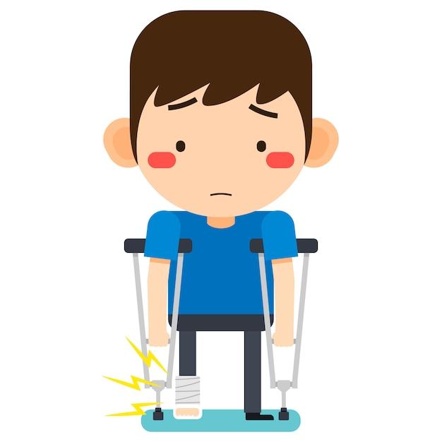Illustration vectorielle, personnage de l'homme patient minuscule dessin animé mignon cassé la jambe droite en bandage de gypse ou jambe plâtrée debout avec béquille axillaire Vecteur Premium