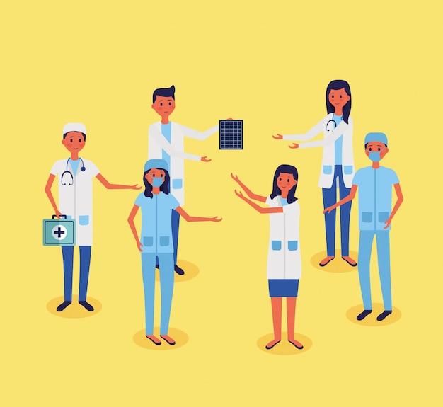 Illustration vectorielle de personnel médical Vecteur gratuit