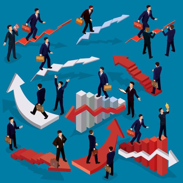 Illustration vectorielle de personnes isométriques plates en 3d. concept de croissance de l'entreprise, échelle de carrière, chemin vers la réussite. Vecteur gratuit