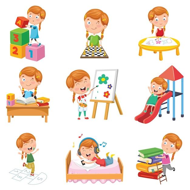 Illustration vectorielle de petite fille jouant Vecteur Premium