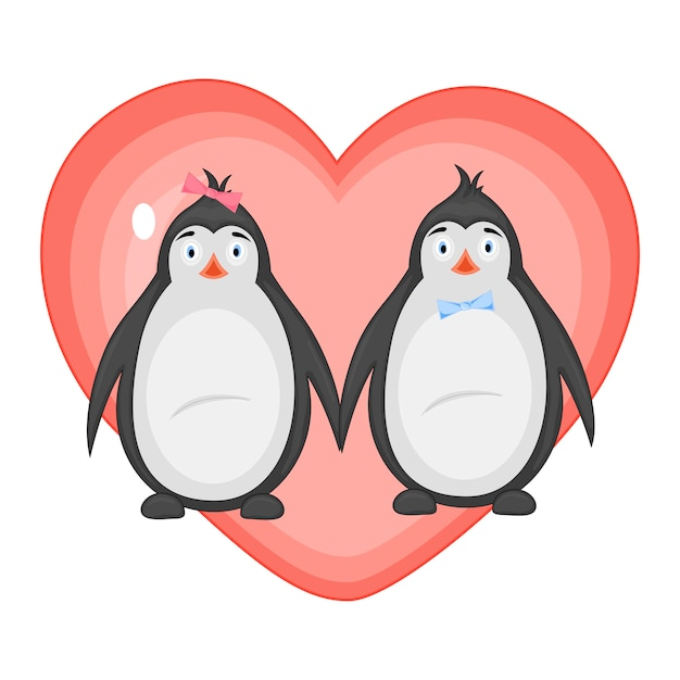 Illustration vectorielle avec des pingouins le jour de la saint-valentin Vecteur Premium