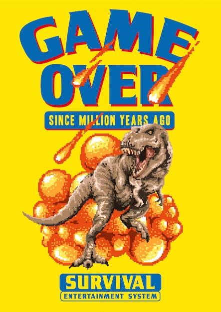 Illustration Vectorielle De Pixel Art De T-rex Marchant Avec Un Astéroïde Tombant. Cette Illustration Réalisée Avec Un Style De Jeu Vidéo Pixel Art Graphique Des Années 80. Vecteur Premium