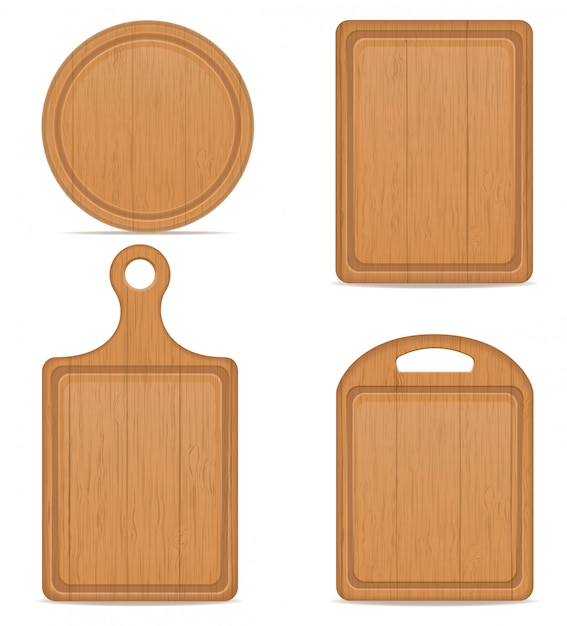 Illustration vectorielle de planche à découper en bois Vecteur Premium