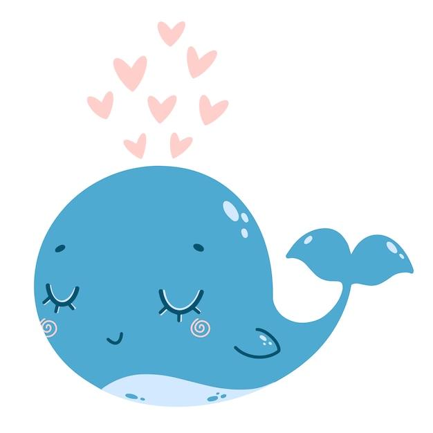 Illustration Vectorielle Plane D'une Baleine Bleue De Dessin Animé Mignon Avec Une Fontaine De Coeurs Roses. Vecteur Premium