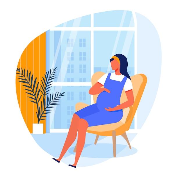 Illustration vectorielle plane jeune femme enceinte Vecteur Premium