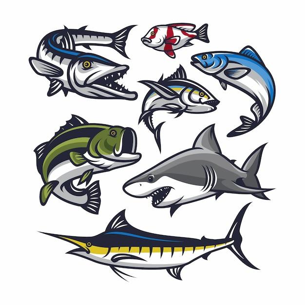 Illustration vectorielle de poisson vector mascotte Vecteur Premium