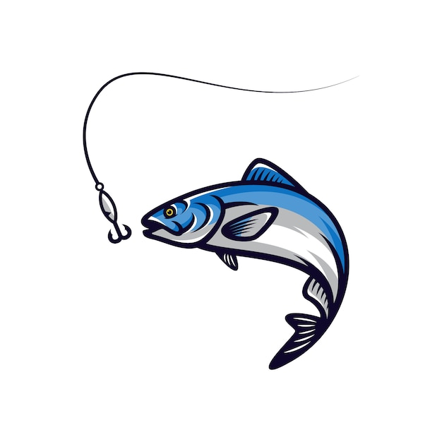 Illustration vectorielle de poisson vector mascotte Vecteur Premium