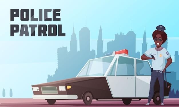 Illustration vectorielle de police patrouille Vecteur gratuit