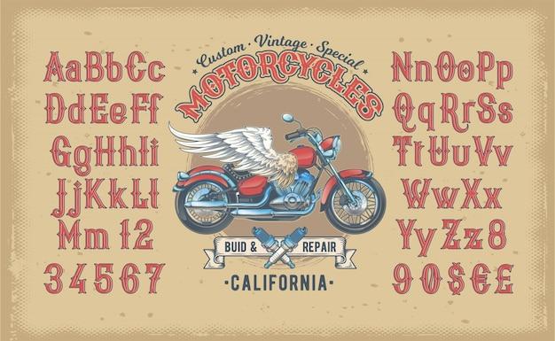Illustration Vectorielle D'une Police Vintage Rouge, L'alphabet Latin Avec Une Moto Personnalisée Rétro Vecteur gratuit
