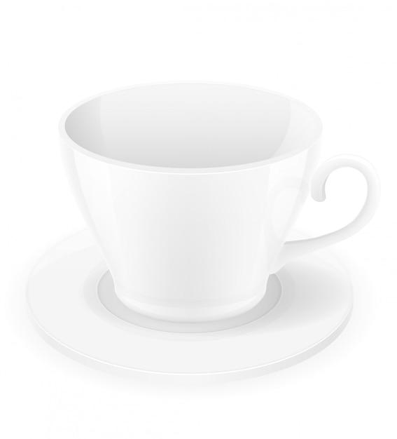 Illustration vectorielle de porcelaine tasse et soucoupe Vecteur Premium