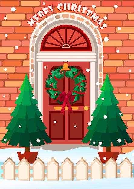 Illustration vectorielle de porte avec guirlande. Vecteur Premium