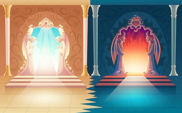Illustration vectorielle avec des portes paradis et enfer Vecteur gratuit