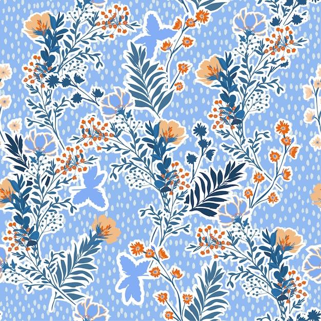 Illustration vectorielle d'une prairie dessinés à la main des feuilles et des fleurs. vectorielle continue Vecteur Premium