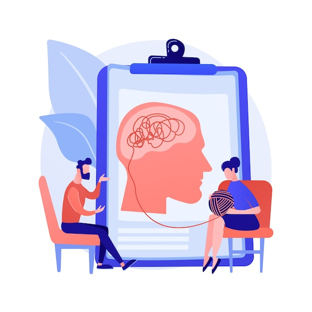 Illustration Vectorielle De Psychothérapie Concept Abstrait. Intervention Non Pharmacologique, Conseil Verbal, Service De Psychothérapie, Thérapie Cognitive Comportementale, Métaphore Abstraite En Séance Privée. Vecteur gratuit