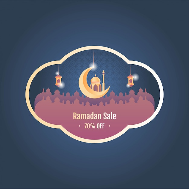 Illustration vectorielle de ramadan sale banner Vecteur Premium