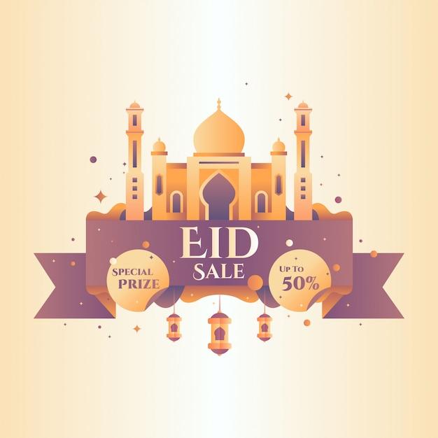 Illustration vectorielle de ramadan vente badge Vecteur Premium