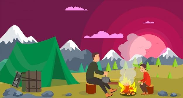 Illustration vectorielle randonnée avec feu de joie. Vecteur Premium