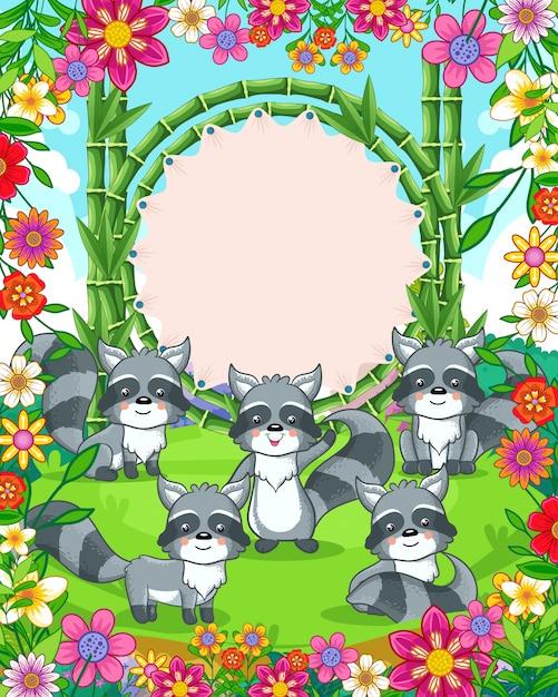 Illustration Vectorielle De Ratons Laveurs Mignons Avec Signe Vierge De Bambou Dans Le Jardin Vecteur Premium