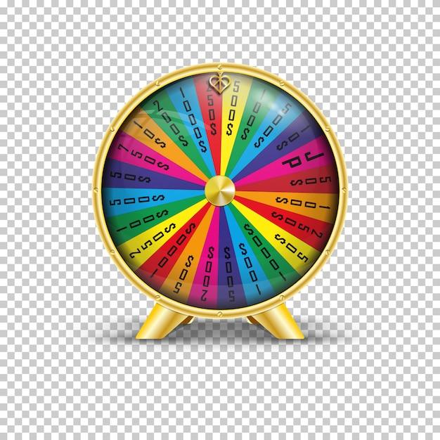 Illustration vectorielle réaliste de la roue de la fortune Vecteur Premium