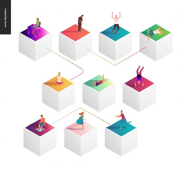 Illustration vectorielle de réseau concept Vecteur Premium