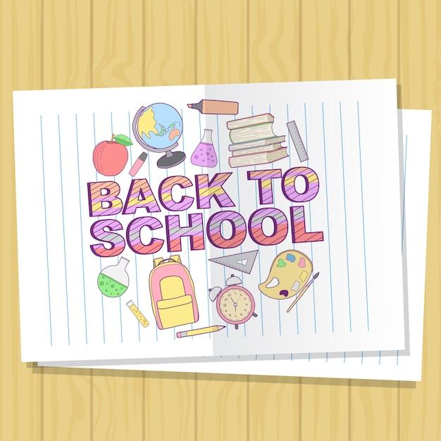 Illustration vectorielle retour à la conception moderne de l'école Vecteur Premium