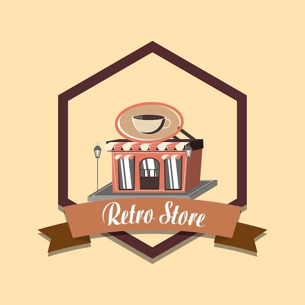 Illustration Vectorielle Rétro Café Vintage Emblème Vecteur Premium