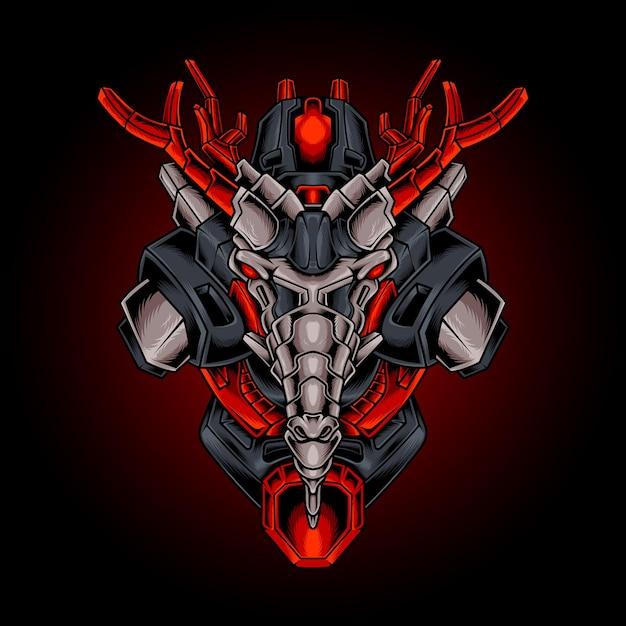 Illustration Vectorielle Robotique Tête De Dragon Vecteur Premium