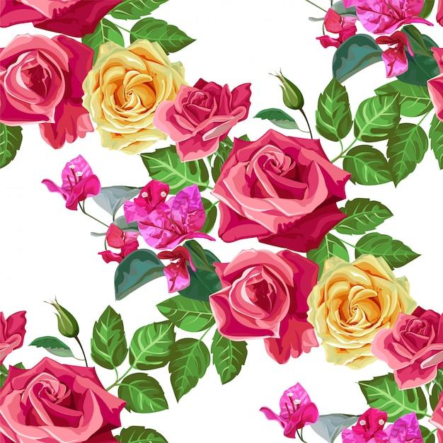 Illustration vectorielle rose modèle sans couture Vecteur Premium
