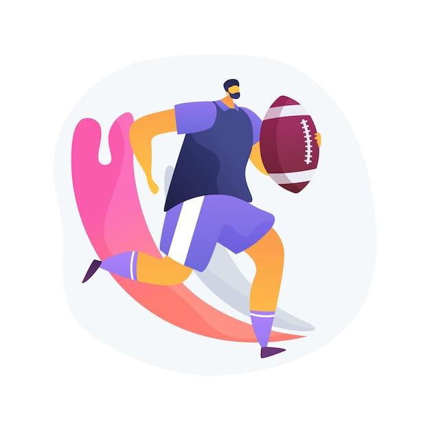 Illustration Vectorielle De Rugby Concept Abstrait. Football Américain, Joueur Professionnel, Aire De Jeux, équipement D'entraînement, Ballon De Match, Ligue De La Coupe Du Monde, Terrain En Herbe, Métaphore Abstraite Du Stade. Vecteur gratuit
