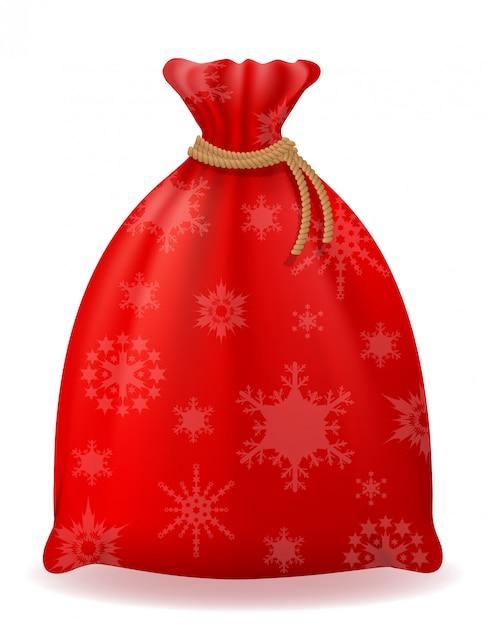 Illustration Vectorielle De Sac De Noël Rouge Santa Claus Vecteur Premium