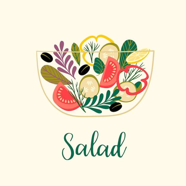 Illustration vectorielle de salade de légumes Vecteur Premium