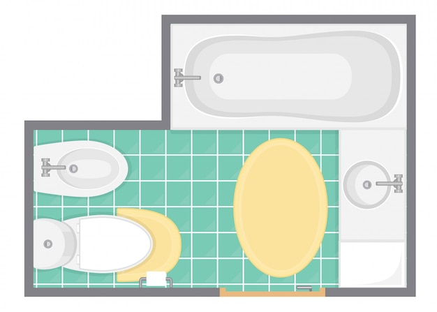 Illustration Vectorielle De Salle De Bain Intérieur Vue De Dessus. Plan D'étage Des Toilettes. Design Plat. Vecteur Premium
