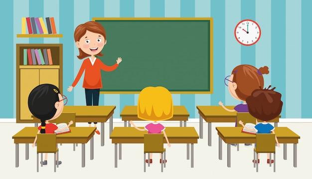 Illustration vectorielle de la salle de classe Vecteur Premium