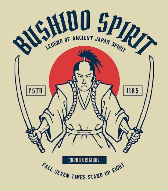 Illustration vectorielle de samouraï avec 2 épées à la main, prêt à se battre Vecteur Premium