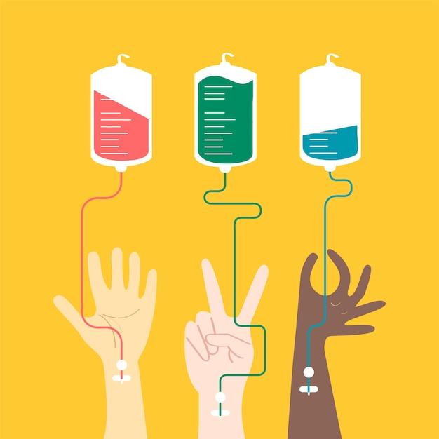Illustration vectorielle de sang don concept Vecteur gratuit