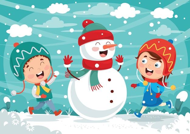 Illustration vectorielle de scène d'hiver Vecteur Premium