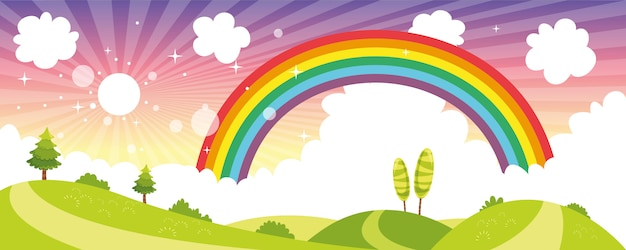 Illustration vectorielle de scène de nature colorée Vecteur Premium