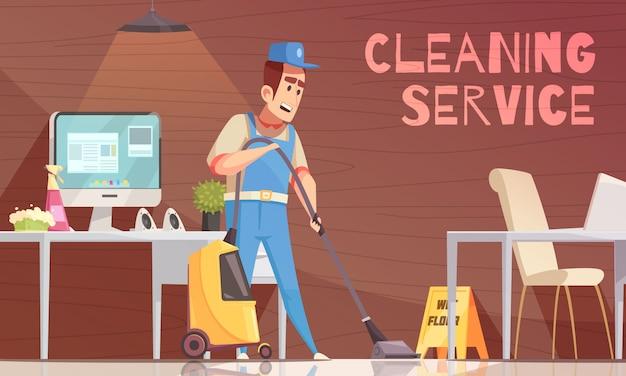 Illustration vectorielle de service de nettoyage Vecteur gratuit