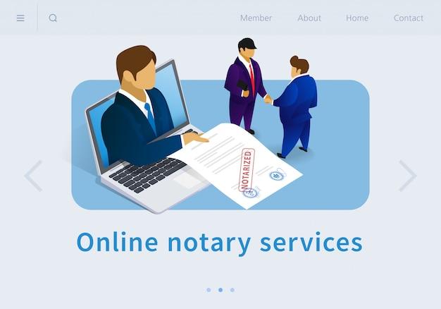 Illustration vectorielle services de notaire en ligne plat. Vecteur Premium