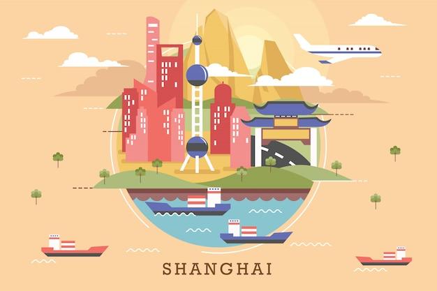 Illustration vectorielle de shanghai Vecteur Premium
