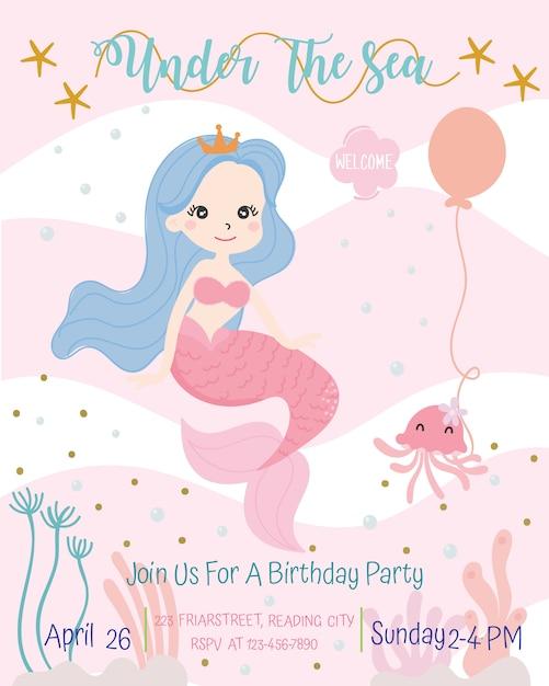 Illustration vectorielle de sirène mignonne thème anniversaire fête invitation carte. Vecteur Premium