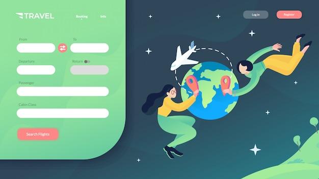 Illustration vectorielle de site web de voyage Vecteur Premium