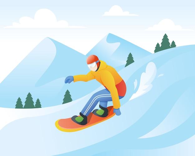 Illustration Vectorielle De Snowboarder Vecteur Premium