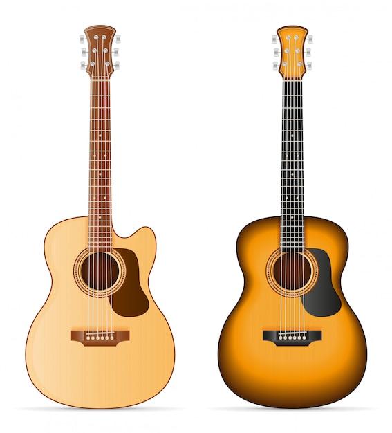 Illustration vectorielle stock guitare acoustique Vecteur Premium