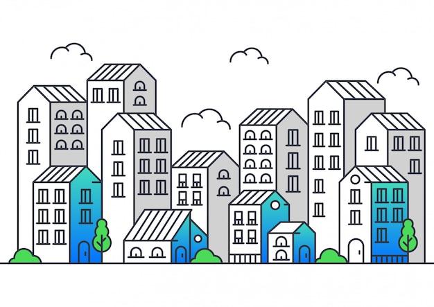 Illustration vectorielle de style moderne de la ligne de la ville Vecteur Premium