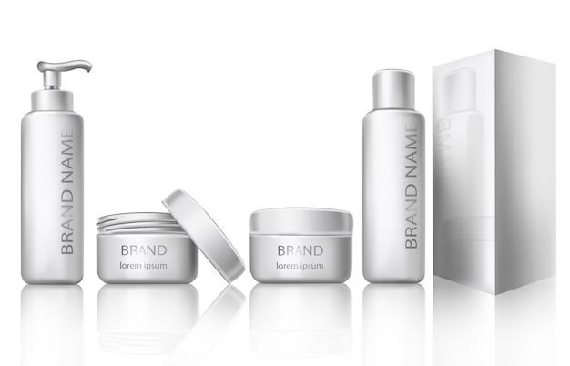 Illustration vectorielle d'un style réaliste de récipients cosmétiques en plastique blanc avec capsules fermées et ouvertes Vecteur gratuit