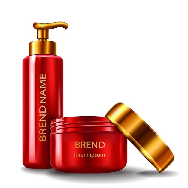 Illustration vectorielle d'un style réaliste de récipients cosmétiques en plastique rouge avec capsules d'or Vecteur gratuit