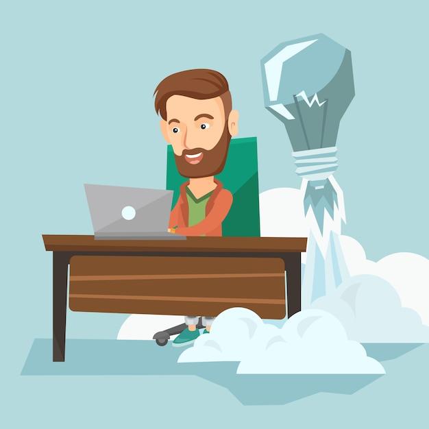 Illustration vectorielle de succès entreprise idée. Vecteur Premium