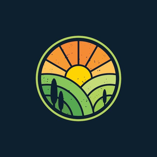 Illustration Vectorielle De Sunrise Paysage Agriculture Logo Design Vecteur Premium