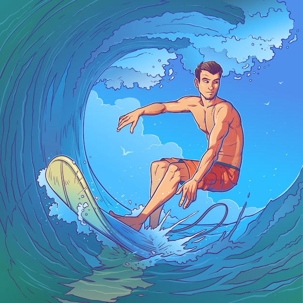 Illustration vectorielle d'un surfeur Vecteur gratuit